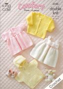 King Cole Baby Jacket, Sweater, Cardigan & Dresses Comfort Crochet Pattern 3152  DK