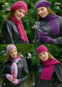 King Cole Ladies Hats, Scarves & Gloves Moods Knitting Pattern 3166  DK