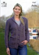 King Cole Ladies Cardigan & Waistcoat Merino Blend Knitting Pattern 3167  Aran