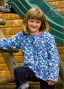 King Cole Childrens Sweater & Cardigan Magnum Knitting Pattern 3175  Chunky