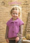 King Cole Childrens Sweater, Gilet & Jacket Comfort Knitting Pattern 3180  Chunky
