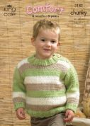 King Cole Childrens Sweaters & Cardigan Comfort Knitting Pattern 3182  Chunky