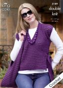 King Cole Ladies Tunic, Cardigan & Shoulder Bag Moods Crochet Pattern 3189  DK