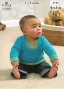 King Cole Baby Sweaters, Cardigan & Hat Comfort Knitting Pattern 3193  DK