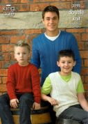 King Cole Mens & Boys Sweaters & Slipovers Bamboo Cotton Knitting Pattern 3195  DK