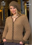 King Cole Ladies Cardigan, Waistcoat & Hat Baby Alpaca Knitting Pattern 3200  DK