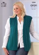 King Cole Ladies Jacket & Waistcoat Merino Blend Knitting Pattern 3204  Aran