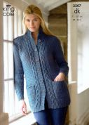 King Cole Ladies Jacket & Sweater Merino Knitting Pattern 3207  DK