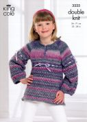 King Cole Girls Tunic & Cardigan Knitting Pattern 3225  DK