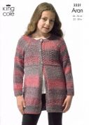 King Cole Childrens Cardigans Twist Knitting Pattern 3231  Aran