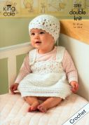 King Cole Baby Cardigan, Waistcoat, Dress & Hat Comfort Crochet Pattern 3251  DK