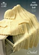 King Cole Baby Coat, Hat & Shawl Comfort Crochet Pattern 3259  DK