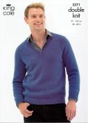 King Cole Mens Sweater & Cardigan Merino Knitting Pattern 3271  DK