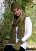 King Cole Ladies Hat, Gloves & Scarf Baby Alpaca Knitting Pattern 3274  DK