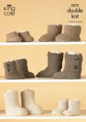 King Cole Family Hug Slipper Boots Baby Alpaca Knitting Pattern 3275  DK