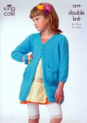 King Cole Girls Cardigan & Dress Knitting Pattern 3279  DK
