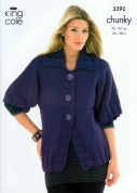 King Cole Ladies Jacket & Top Magnum Knitting Pattern 3292  Chunky