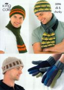 King Cole Mens Hats, Scarves & Gloves Merino Knitting Pattern 3296  DK, Chunky