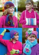 King Cole Girls Hats, Scarves, Gloves & Warmers Riot Knitting Pattern 3298  DK, Chunky
