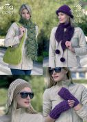 King Cole Ladies Hats, Scarves, Bag & Wrist Warmers Luxury Mohair Knitting Pattern 3299  DK, Chunky