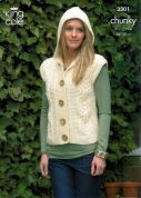 King Cole Ladies Jacket & Gilet Merino Blend Knitting Pattern 3301  Chunky