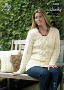 King Cole Ladies Jacket, Sweater & Cushion Cover Magnum Knitting Pattern 3302  Chunky