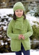 King Cole Childrens Jackets, Hats & Scarf Comfort Knitting Pattern 3303  Chunky