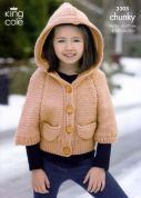 King Cole Childrens Hooded Jacket & Sweater Comfort Knitting Pattern 3305  Chunky