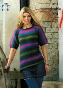 King Cole Ladies Sweaters Riot Knitting Pattern 3314  DK
