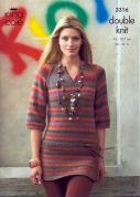 King Cole Ladies Tops Riot Knitting Pattern 3316  DK