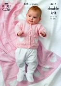 King Cole Baby Cardigan, Dress, Hat & Blanket Bamboo Cotton Knitting Pattern 3317  DK