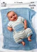 King Cole Baby Sweater, Pants, Romper & Blanket Bamboo Cotton Knitting Pattern 3318  DK