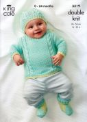 King Cole Baby Sweater, Tank Top, Cardigan, Boots & Hat Bamboo Cotton Knitting Pattern 3319  DK