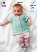 King Cole Baby Cardigans, Shoes & Pram Cover Bamboo Cotton Knitting Pattern 3320  DK