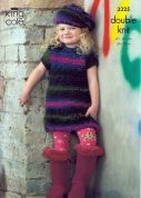 King Cole Girls Looped Dress, Top & Beret Riot Knitting Pattern 3325  DK