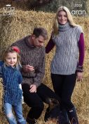 King Cole Family Sweater & Slipovers Moorland Knitting Pattern 3331  Aran