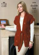 King Cole Ladies Coat & Gilet Knitting Pattern 3336  DK