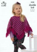 King Cole Girls Ponchos Merino Knitting Pattern 3338  DK