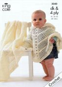 King Cole Baby Poncho & Shawl Big Value Crochet Pattern 3343  4 Ply, DK