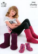 King Cole Family Hug Slipper Boots Knitting Pattern 3344  Chunky