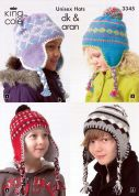 King Cole Childrens Hats Fashion Knitting Pattern 3345  DK, Aran