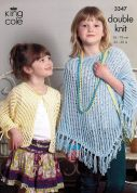 King Cole Girls Cardigan & Poncho Bamboo Cotton Knitting Pattern 3347  DK