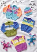 King Cole Baby Sweaters & Cardigans Comfort Knitting Pattern 3350  DK