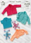 King Cole Baby Cardigans, Sweater & Bolero Comfort Knitting Pattern 3351  DK