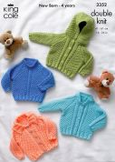 King Cole Baby Jacket, Cardigan & Sweater Comfort Knitting Pattern 3352  DK