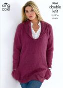 King Cole Ladies Sweaters Merino Knitting Pattern 3363  DK