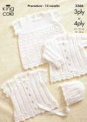 King Cole Baby Cardigans, Bonnet & Top Comfort Knitting Pattern 3366  3 Ply, 4 Ply