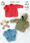 King Cole Baby Jacket & Coat Big Value Knitting Pattern 3368  4 Ply, DK