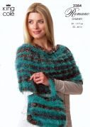 King Cole Ladies Top, Cowl & Bag Romano Knitting Pattern 3384  Chunky