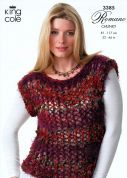 King Cole Ladies Top, Hat & Scarf Romano Knitting Pattern 3385  Chunky